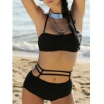 Buy Alluring Halter Cut Women's Bikini Set XL BLACK