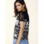 Trendy Jewel Neck Short Sleeve Lace Panelled Print Blouse For Women photo