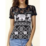 Trendy Jewel Neck Short Sleeve Lace Panelled Print Blouse For Women