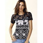 best Trendy Jewel Neck Short Sleeve Lace Panelled Print Blouse For Women