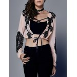 Stylish Lace Drawstring Crop Top For Women