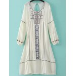 Fashion Scoop Neck Long Sleeve Back Cut Out Embroidery Dress For Women