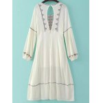 cheap Fashion Scoop Neck Long Sleeve Back Cut Out Embroidery Dress For Women