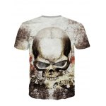 cheap 3D Personality Round Neck Skulls Printed Short Sleeve T-Shirt For Men