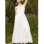 Stylish Halter Sleeveless White Open Back Women's Dress