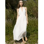 cheap Stylish Halter Sleeveless White Open Back Women's Dress