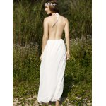 Stylish Halter Sleeveless White Open Back Women's Dress for sale