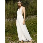 Stylish Halter Sleeveless White Open Back Women's Dress deal