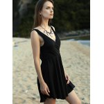 Trendy V-Neck Sleeveless Crossed Solid Color Dress For Women deal
