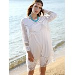 Casual Lace Patchwork Women's White Dress photo