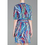 cheap Half Sleeve Multicolor Crossover Dress
