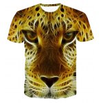 3D Personality Round Neck Leopard Head Print Short Sleeve T-Shirt For Men