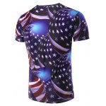 cheap 3D Stripe and Star Printed Round Neck Short Sleeve T-Shirt For Men