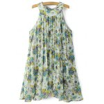 Sweet Pleated Flowing Women's Chiffon Dress