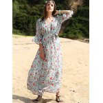 Stylish V Neck 3/4 Sleeve Full Floral Print Women's Maxi Dress photo