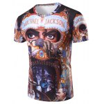 3D Michael Jackson Printed Round Neck Short Sleeve T-Shirt For Men