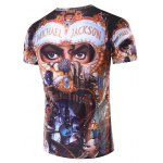 cheap 3D Michael Jackson Printed Round Neck Short Sleeve T-Shirt For Men
