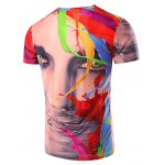 cheap 3D Color Printed Round Neck Short Sleeve T-Shirt For Men