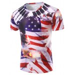 3D Flag Printed Round Neck Short Sleeve T-Shirt For Men