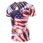 cheap 3D Flag Printed Round Neck Short Sleeve T-Shirt For Men