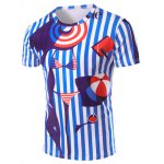 3D Stripes Printed Round Neck Short Sleeve T-Shirt For Men