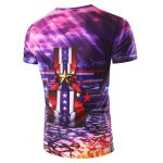 cheap 3D Stripe and Medal Printed Round Neck Short Sleeve T-Shirt For Men