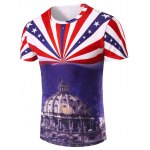 3D Stripe and The Capitol Printed Round Neck Short Sleeve T-Shirt For Men