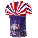 cheap 3D Stripe and The Capitol Printed Round Neck Short Sleeve T-Shirt For Men