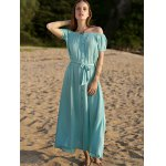 Casual Button Front Closure Women's Turquoise Dress photo