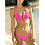 Stylish Spaghetti Strap Stereo Handmade Flower Embellished Push Up Bikini Set For Women
