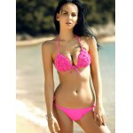 cheap Stylish Spaghetti Strap Stereo Handmade Flower Embellished Push Up Bikini Set For Women