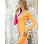 cheap Long Sleeves Plunging Neck Off Breast Stitching Backless Packet Buttock Women's Cut Out Club Dress