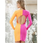Long Sleeves Plunging Neck Off Breast Stitching Backless Packet Buttock Women's Cut Out Club Dress for sale