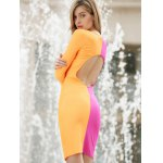 Long Sleeves Plunging Neck Off Breast Stitching Backless Packet Buttock Women's Cut Out Club Dress deal