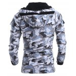 Modish Loose Fit Hooded Multi-Pocket Camo Pattern Long Sleeve Thicken Cotton Blend Coat For Men deal