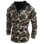 cheap Modish Loose Fit Hooded Multi-Pocket Camo Pattern Long Sleeve Thicken Cotton Blend Coat For Men