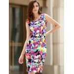 Sexy Scoop Neck Sleeveless Colorful Women's Dress photo