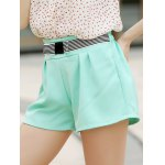 Elegant Bowknot Embellished Solid Color High-Waisted Shorts For Women