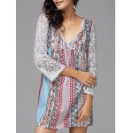 V Neck Lace Tiny Floral Print Bohemian Dress