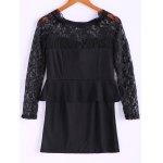 cheap Long Sleeves Lace Splicing Boat Neck Sexy Style Women's Dress