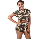 Hooded Camo Crop Top with Shorts deal
