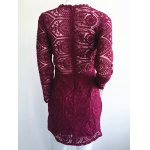 cheap Stylish Ruffled Long Sleeve Solid Color Lace Women's Dress