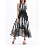 Stand Collar Sleeveless Flowing Prom Dress