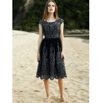 cheap Stylish Scoop Neck Short Sleeve Lace Women's Midi Dress