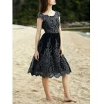 Stylish Scoop Neck Short Sleeve Lace Women's Midi Dress