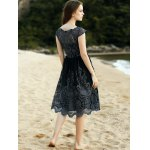 Stylish Scoop Neck Short Sleeve Lace Women's Midi Dress for sale