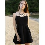 cheap Sleeveless Wing Embroidery Flared Dress