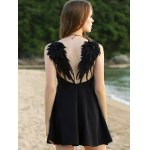 Sleeveless Wing Embroidery Flared Dress photo