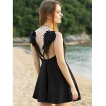 best Sleeveless Wing Embroidery Flared Dress