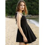 Sleeveless Wing Embroidery Flared Dress for sale